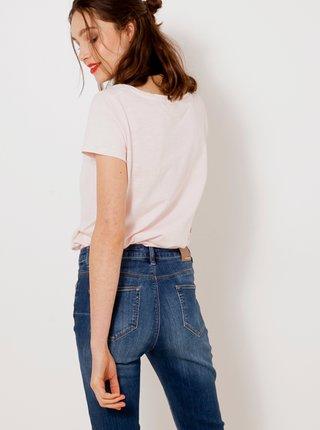 Svetloružové tričko s vreckom CAMAIEU