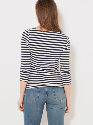 Černo-bílé pruhované tričko s 3/4 rukávem CAMAIEU