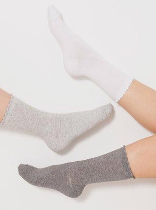 Ponožky pre ženy CAMAIEU - svetlosivá, tmavosivá, biela