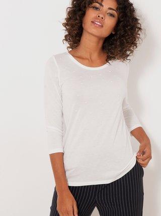 Bílé tričko s 3/4 rukávem CAMAIEU