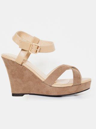 Béžové sandálky na klínku CAMAIEU