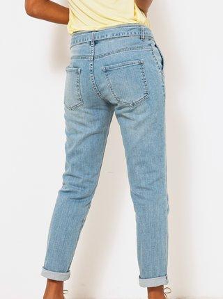 Modré zkrácené straight fit džíny se zavazováním CAMAIEU