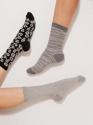 Sada troch párov vzorovaných ponožiek v čiernej a šedej farbe CAMAIEU