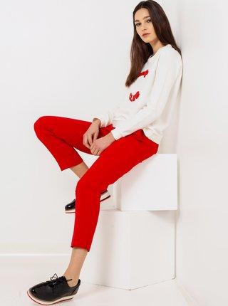Červené skrátené straight fit nohavice CAMAIEU