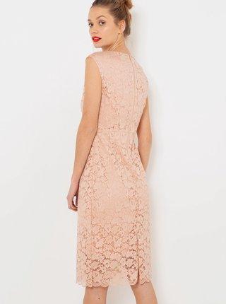Světle růžové krajkové šaty CAMAIEU