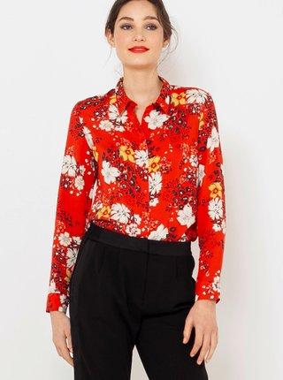 Červená kvetovaná košeľa CAMAIEU