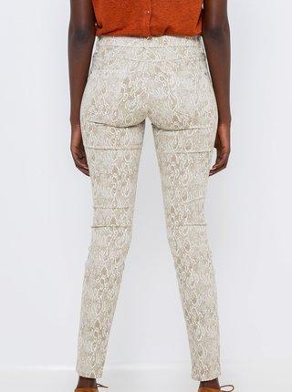 Bílé vzorované skinny fit kalhoty CAMAIEU