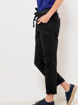 Čierne skrátené ľanové nohavice CAMAIEU