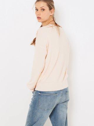Svetloružový ľahký sveter s prímesou vlny CAMAIEU