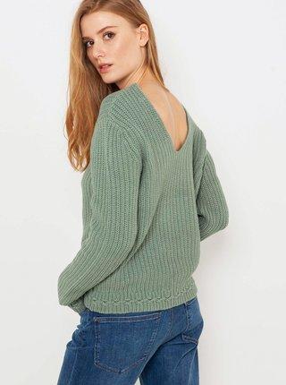 Zelený sveter s véčkovým výstrihom CAMAIEU
