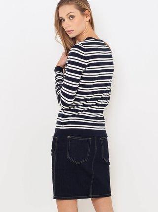 Bielo-čierny pruhovaný basic sveter CAMAIEU