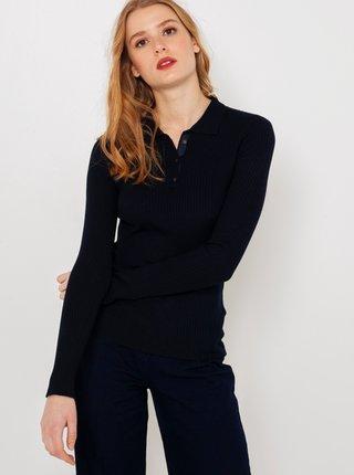 Tmavě modrý svetr s límečkem CAMAIEU
