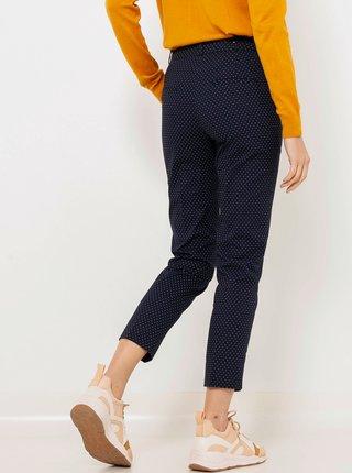 Tmavomodré skrátené vzorované slim fit nohavice CAMAIEU