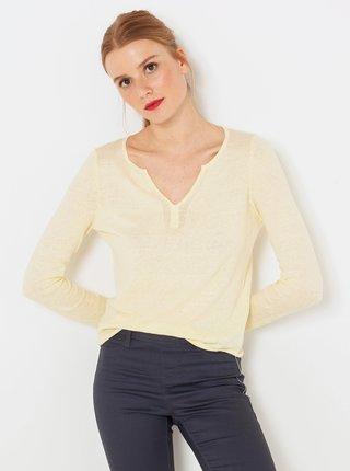 Žltý ľanový ľahký sveter CAMAIEU