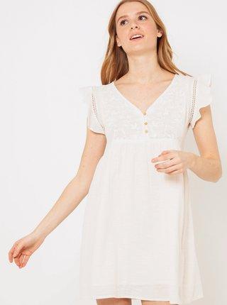Krémové šaty s volánmi CAMAIEU