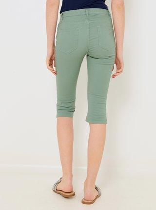 Zelené 3/4 slim fit kalhoty CAMAIEU
