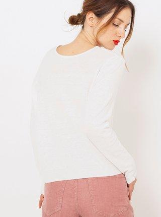 Biely ľanový ľahký sveter CAMAIEU