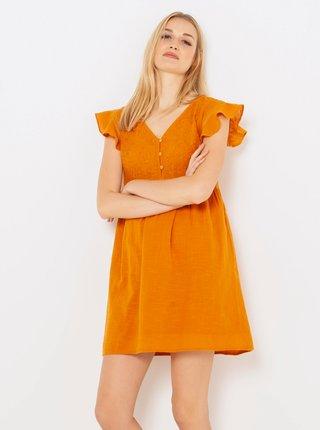 Oranžové šaty s volány CAMAIEU