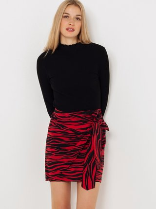 Červená vzorovaná sukně se zavazováním CAMAIEU