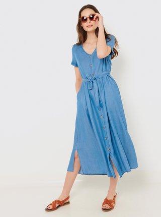 Modré košilové midi šaty CAMAIEU