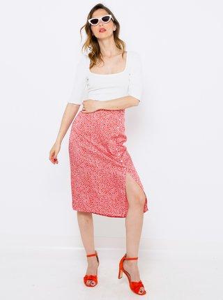 Červená vzorovaná midi sukňa CAMAIEU