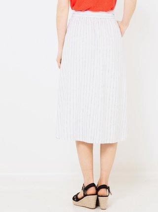 Bílá lněná pruhovaná midi sukně CAMAIEU
