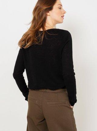 Černý lněný lehký svetr CAMAIEU