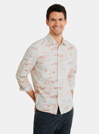 Krémová pánská košile Desigual Fish