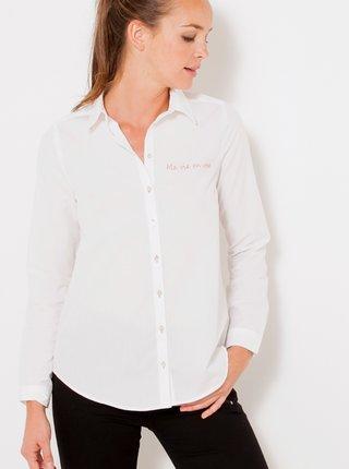 Biela košeľa s nápisom CAMAIEU
