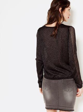 Čierny ľahký tblietavý sveter CAMAIEU