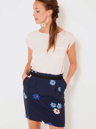 Tmavomodrá kvetovaná sukňa CAMAIEU