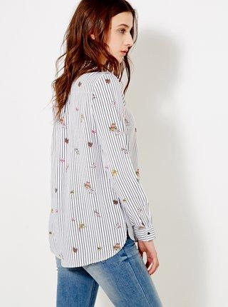 Horčicová vzorovaná košeľa CAMAIEU