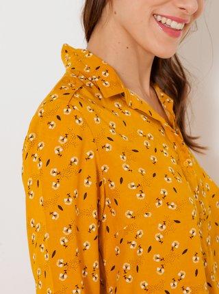 Hořčicová vzorovaná košile CAMAIEU