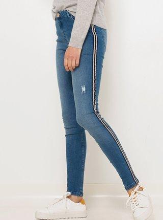 Modré skinny fit džíny s lampasem CAMAIEU