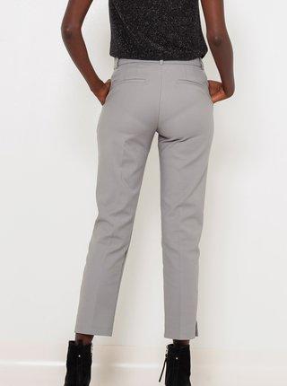 Šedé skrátené straight fit nohavice CAMAIEU