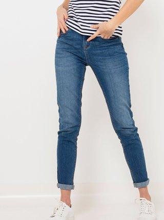 Modré zkrácené slim fit džíny CAMAIEU