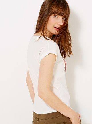 Krémové tričko s potlačou CAMAIEU