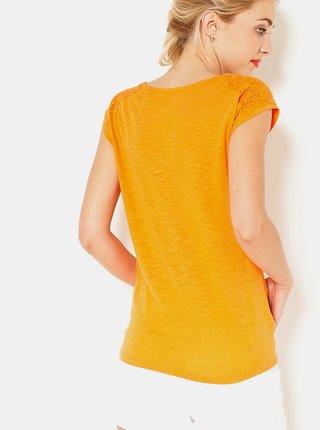 Oranžové tričko s krajkovými detailmi CAMAIEU