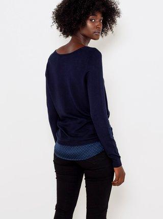 Tmavě modrý svetr s krajkovým detailem CAMAIEU