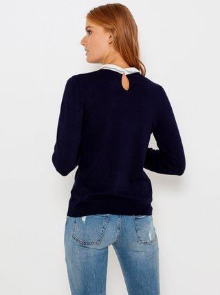 Tmavě modrý svetr s košilovou vsadkou CAMAIEU