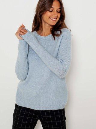 Svetlomodrý sveter so zaväzovaním na chrbte CAMAIEU