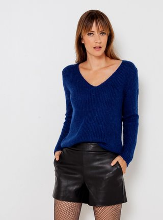 Tmavomodrý sveter s véčkovým výstrihom CAMAIEU