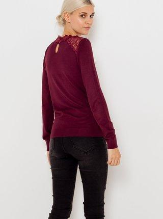 Vínový ľahký sveter s krajkou CAMAIEU