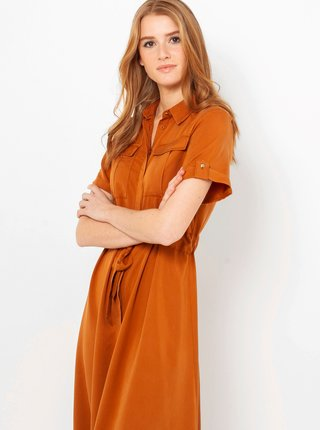 Hnedé košeľové midišaty CAMAIEU