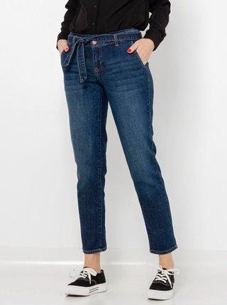 Tmavě modré zkrácené straight fit džíny CAMAIEU