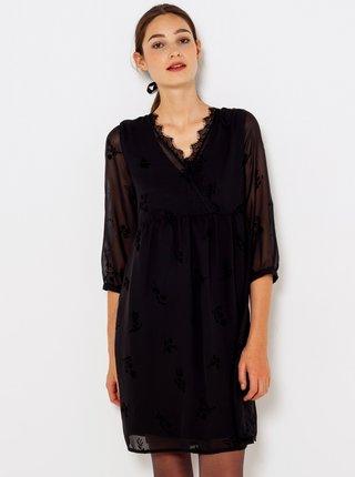 Čierne kvetované šaty s krajkovým lemovaním CAMAIEU