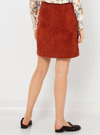 Hnědá kožená sukně CAMAIEU