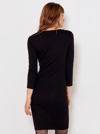 Čierne púzdrové šaty s 3/4 rukávom CAMAIEU