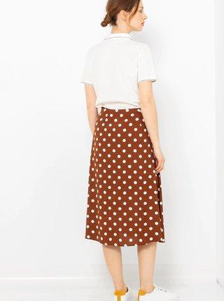 Hnedá bodkovaná midi sukňa CAMAIEU