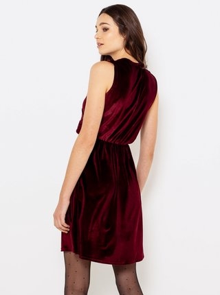 Vínové sametové šaty CAMAIEU